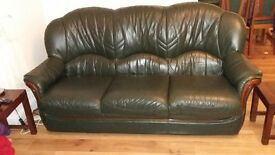3 and 2-Seater World of Leather Sofas and Pouffe - excellent condition - Buyer to collect