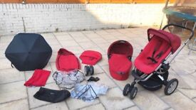 Quinny Buzz Travel system pram buggy pushchair carrycot red 3 wheeler