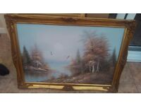 Oil painting.Stunning Landscape Woodland Scene - Oil on Canvas