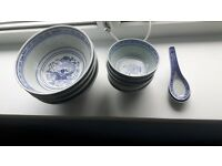 Chinese design bowls and spoons