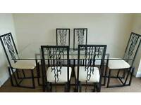 Wrought Iron Glass Top Table and 6 Matching Chairs