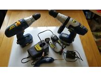 Electric Drills (2) cordless - and a mini screw driver - NiCAD batteries