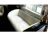 2 Double seater and three seater leather sofa (black and white)