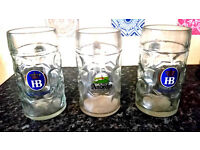 "3 x 1 Liter HB "" Hofbrauhaus Oktoberfest "" Kloster Andecks Dimpled Glass Beer Stein Mug from Germany"