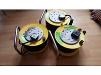 3 X Extension Lead Reel 4 Way 10 Meter Cable Socket Heavy Duty 13A