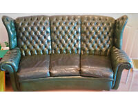 Vintage Forrest Green Leather Chesterfield-Style Wingback 3-piece Suite