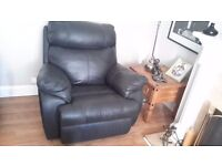 DARK BLUE LEATHER 3 PIECE SUITE ELECTRIC RECLINERS ON SOFA MANUAL RECLINERS ON ARM CHAIRS