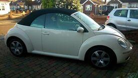 VW Beetle Convertable, Lady owner, sort after beige colour , vw servicing , 85k electric allround