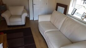Cream Italian Leather Sofa and Armchair, excellent condition smoke & pet free home