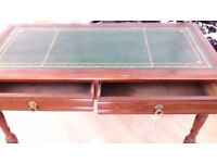 Beautiful Vintage ladies writing desk with Green Leather top and 2 drawers