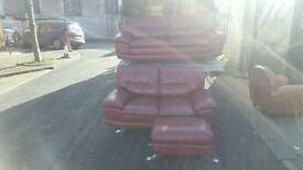 Italian red leather 3+2 sofa and foot stool