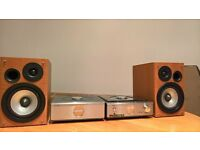 HITACHI cd player and amplifier plus speakers