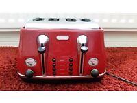 De'Longhi Icona CTO4003.R 4-Slice Toaster, Scarlet Red