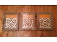"3 x Brand New grey vintage style frames 8"" x 10"" (20cm x 25cm)"