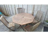 Outdoor teak set table and 4 chairs