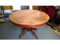 SOLID WOOD Large Round DINING TABLE - Beautifully Engraved!