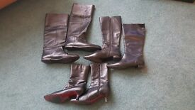 3 pairs of ladies leather boots - as new exc condition great buy