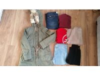Ladies winter parka jacket and clothes bundle
