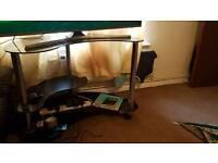 Kidney Shaped Glass Computer Desk