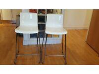 A pair of white bar Ikea stools GLENN