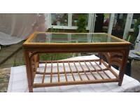 Cane bamboo coffee table