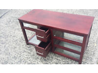 mahogany wood long unit with drawer and glass shelves