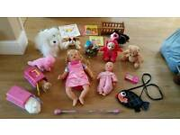 £10 for 30 girls toys. Talking doll soft plush animals, robot dog, teletubbie, books handbag etc