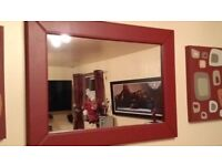Mirror with Red leather frame like new
