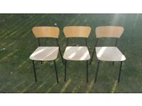 Set of 3 trendy beech and metal dining chairs, ex-Habitat £10 for lot