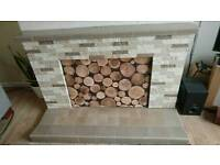Tiled Fireplace Mantel Surround and Hearth
