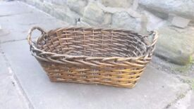 Vintage French Wicker Storage Fruit Bread Basket Home Rustic Country Handles