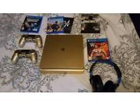 Ps4 Limited Edition Gold Colour 500gb with 2 controllers, Headset and 4 Games