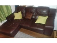 Brown leather corner sofa - SOLD