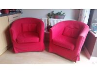 IKEA TULLSTA red armchair covers x 3