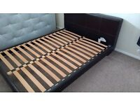King size bed frame, modern leather look