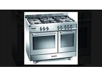 Beaumatic electric and gas range cooker twin doors stainless steel WOW!