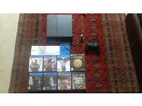 PS4 WITH GAMES AND HEADSET.