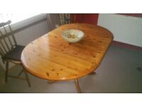 Solid pine drop leaf table and chairs