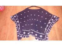 Navy batwinged top size L
