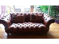 lovely 3 seater chesterfield leather sofa