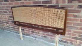 MAHOGANY FRAMED HEADBOARD WITH CANE INLAT FOR DOUBLE BED