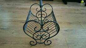 Wrought iron book basket