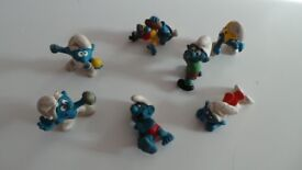 Lot of Seven Vintage West German Smurfs Toys Figurines - Schleich