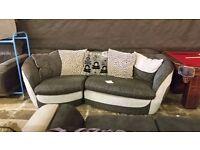 Cheap stylish grey and white 3 seater sofa