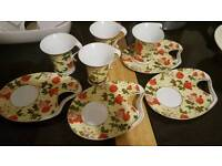 3 cups and 3 saucers