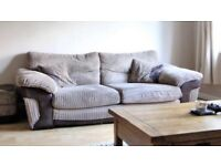 DFS brown 3 seater, 2 seater sofa & storage foot rest. Good condition, selling due to moving house
