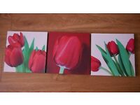 Red Flower Canvas (3 pieces)
