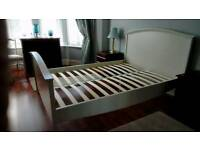 DOUBLE BED FRAME CREAM WOOD EXCELLENT CONDITION