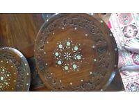 Set of 3 Polished, Pearl inlaid occasional tables.