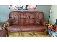 Ox blood red leather sofa
